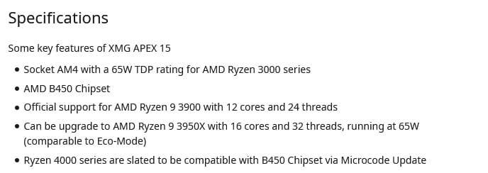 XMG Apex 15 compatibilité Ryzen 4000 Chipset B450