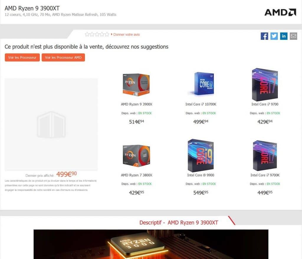 AMD Ryzen 9 3900XT Materiel.net