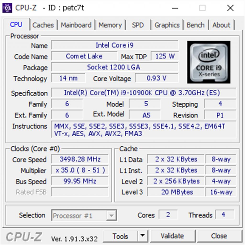 CPU-Z Intel Core i9-10900K 3498 MHz