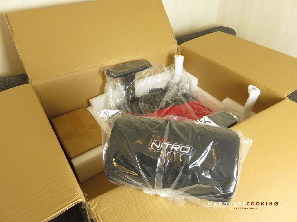 déballage carton E250 coussins
