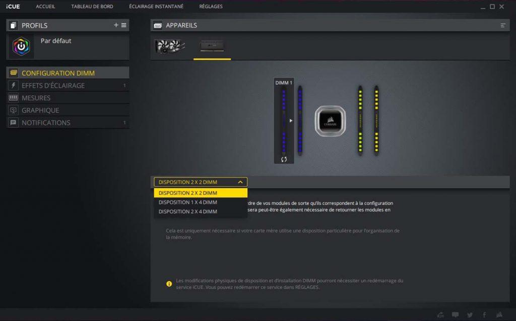 CORSAIR iCUE configuration DIMM