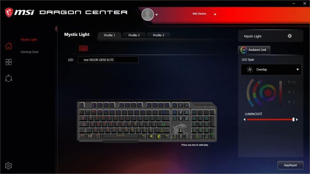 MSI Dragon Center MSI VIGOR GK50 ELITE