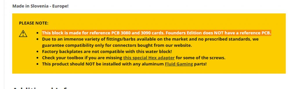 EK-Quantum Vector RTX 3080/3090 non compatible avec les Founders Edition