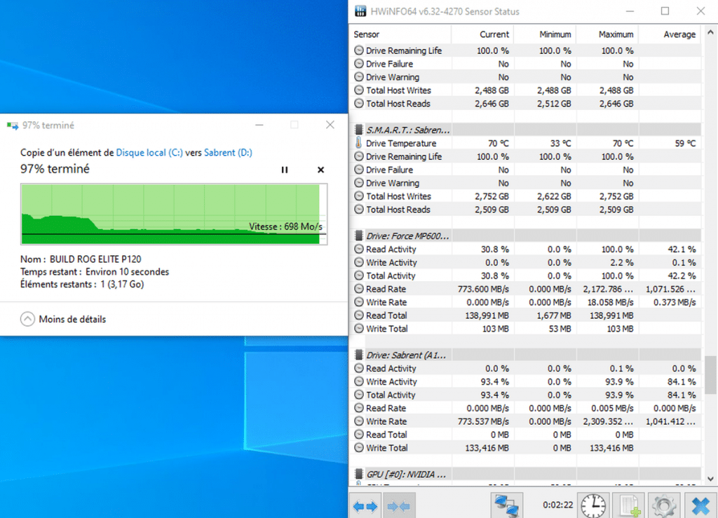 benchmark SSD Sabrent Rocket 2 To cache