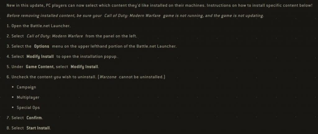 Call of Duty: Modern Warfare désinstaller modes