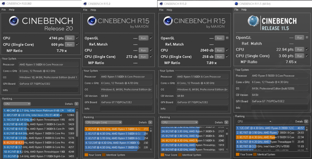 benchmark Cinebench AMD Ryzen 5 5600X