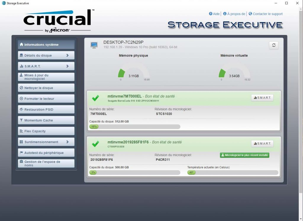 Storage Executive Informations