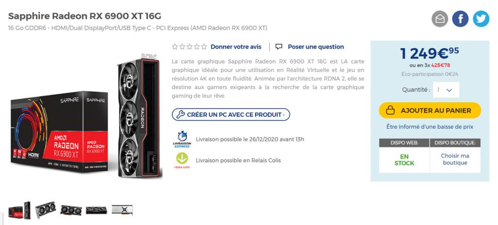 Stock Sapphire Radeon RX 6900 XT