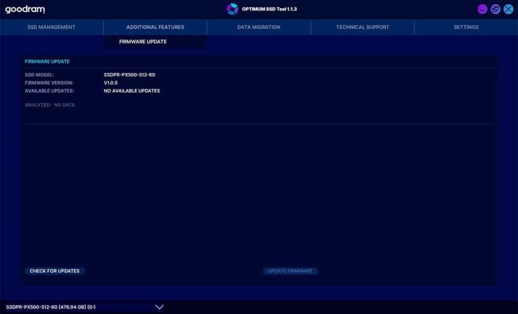 Optimum SSD Tool Firmware update