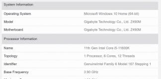 Résultats Geekbench 5 Intel Core-i5-11600K