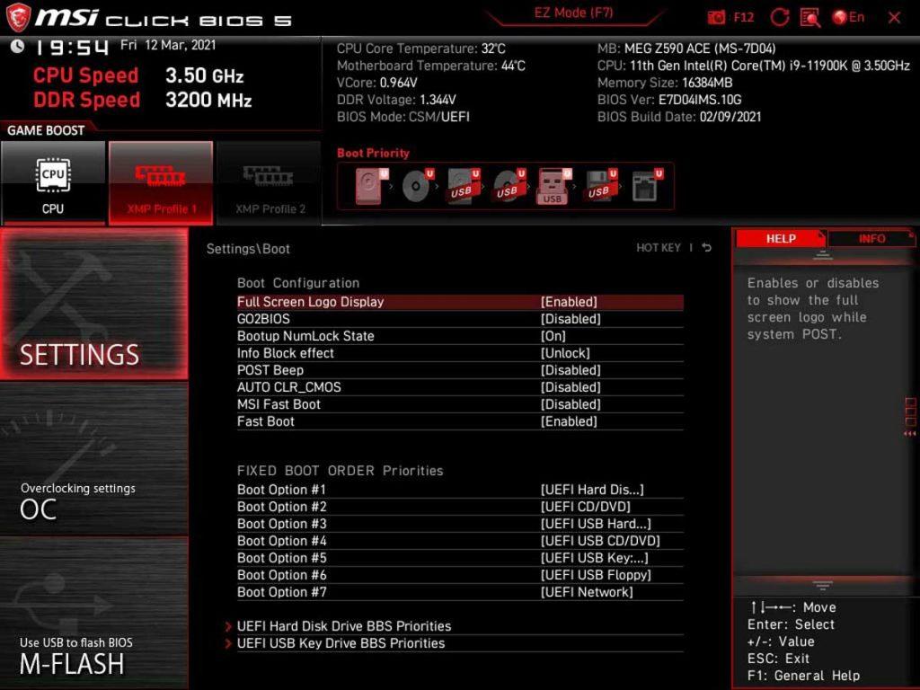 BIOS MSI MEG Z590 ACE