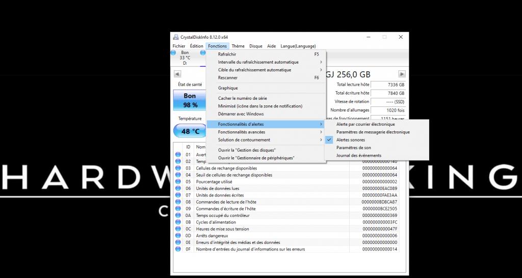 configurer alerte CrystalDiskInfo