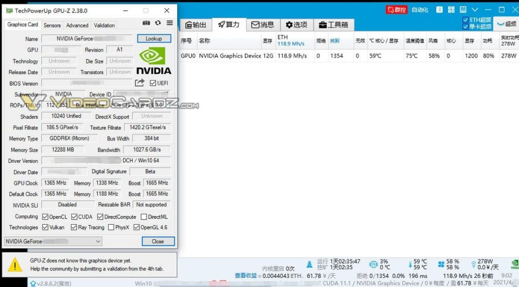 NVIDIA GeForce RTX 3080 Ti Hashrate Ethereum
