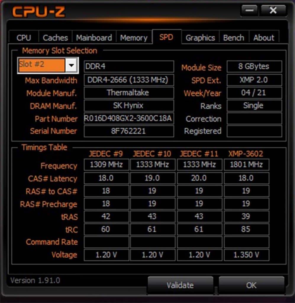 CPU-Z TOUGHRAM XG RGB