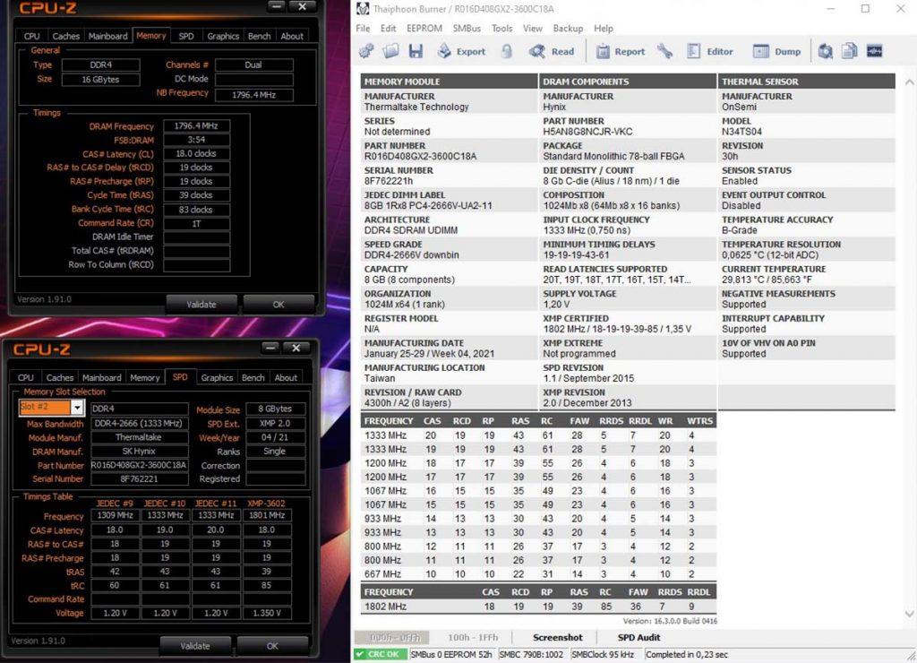Thaiphoon Burner et CPU-Z