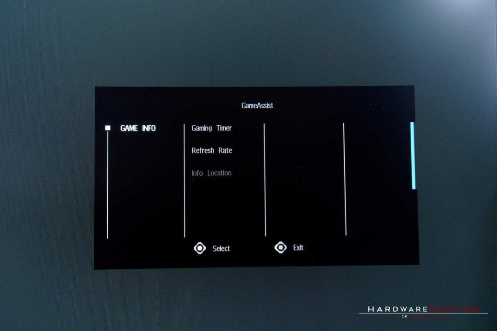 menu OSD écran GIGABYTE