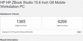 Geekbench 5 Intel Core i9-11950H HP ZBook Studio