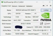 GPU-Z 2.40.0 spécifications techniques NVIDIA GeForce RTX 3080 Ti