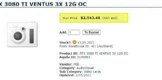 MSI RTX 3080 TI VENTUS 3X 12G OC