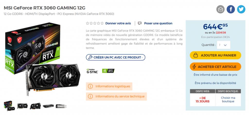 Stock MSI GeForce RTX 3060 GAMING 12G